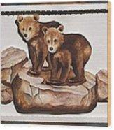 3-d Bearizona Bear Babies Wood Print