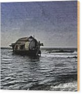 Digital Oil Painting - A Houseboat Moving Placidly Through A Coastal Lagoon In Alleppey Wood Print