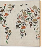 Dinosaur Map Of The World Map Wood Print