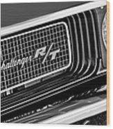Dodge Challenger Rt Grille Emblem Wood Print