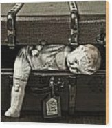 Doll In Suitcase Wood Print