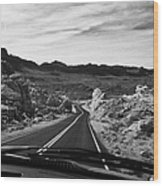 Driving Along The White Domes Road In Valley Of Fire State Park Nevada Usa Wood Print