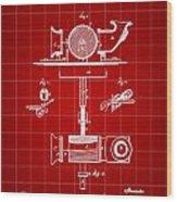 Edison Phonograph Patent 1878 - Red Wood Print