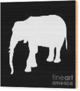 Elephant In Black And White Wood Print