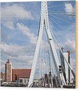 Erasmus Bridge In Rotterdam Wood Print