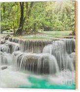 Erawan Waterfall In Kanchanaburi Province Wood Print
