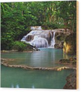 Erawan Waterfall Wood Print