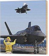 F-35b Lighnting II Variants Land Aboard Wood Print