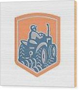 Farmer Driving Tractor Plowing Farm Shield Retro Wood Print