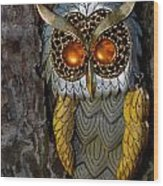 Faux Owl With Golden Eyes Wood Print