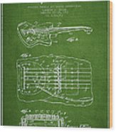 Fender Floating Tremolo Patent Drawing From 1961 - Green Wood Print by Aged Pixel