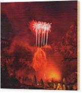 Fireworks Above Toce Falls, Formazza Wood Print