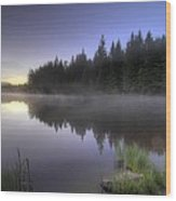 First Light At Trillium Lake With Reflection Wood Print