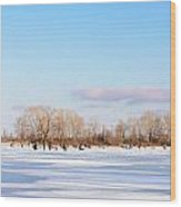 Fishermen On The Frozen River Wood Print