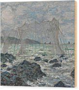 Fishing Nets At Pourville Wood Print
