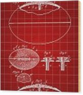 Football Patent 1902 - Red Wood Print