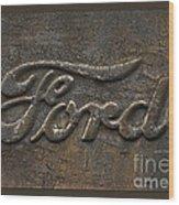 Ford Tough Antique Truck Logo Wood Print