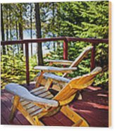 Forest Cottage Deck And Chairs Wood Print