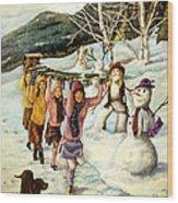 Frosty Frolic Wood Print