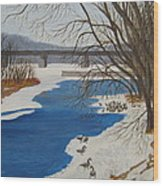 Geese On The Grand River Wood Print