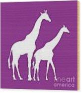 Giraffe In Purple And White Wood Print