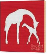 Giraffe In Red And White Wood Print