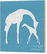 Giraffe In White And Turquoise Wood Print
