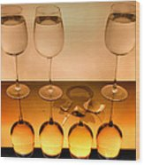 3 Glasses Wood Print