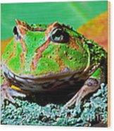 Green Fantasy Frogpacman Frog Wood Print