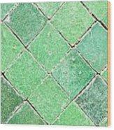 Green Tiles Wood Print