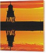 Groyne Lighthouse At Sunrise Wood Print