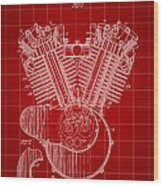 Harley Davidson Engine Patent 1919 - Red Wood Print