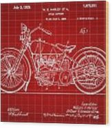Harley Davidson Motorcycle Patent 1925 - Red Wood Print