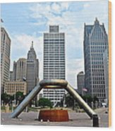 Hart Plaza Detroit Wood Print