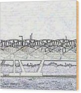 Helix Bridge And Road Bridge Next To Each Other In Singapore Wood Print