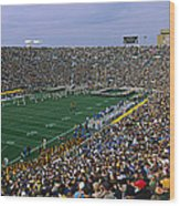 High Angle View Of A Football Stadium Wood Print