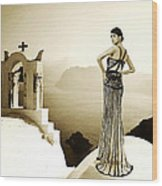 High Fashion Santorini Wood Print
