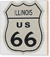 Historical Route 66 Sign Wood Print