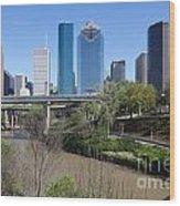Houston Skyline Wood Print