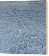 Ice On Abraham Lake Wood Print