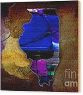 Illinois Map Watercolor Wood Print