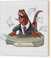 Illustration Of A Tyrannosaurus Rex Wood Print by Stocktrek Images