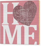 Indianapolis Street Map Home Heart - Indianapolis Indiana Road M Wood Print
