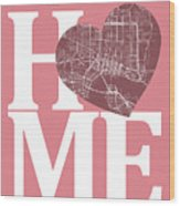 Jacksonville Street Map Home Heart - Jacksonville Florida Road M Wood Print