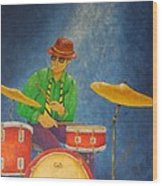 Jazz Drummer Wood Print