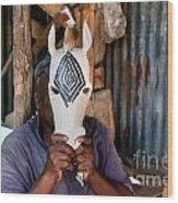 Kenya. December 10th. A Man Carving Figures In Wood. Wood Print