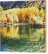 Lake Reflection In Fall Wood Print