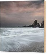 Landscape Seascape Of Jagged And Rugged Rocks On Coastline With  Wood Print