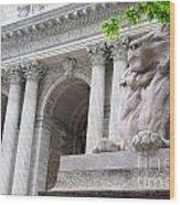 Lion New York Public Library Wood Print