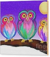 3 Little Owls In The Moonlight Wood Print